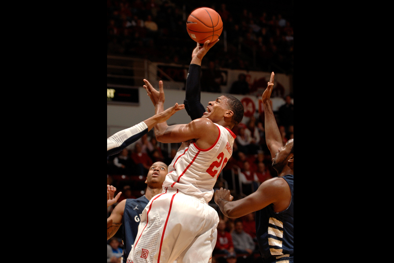 Bradley Brave Tyshon Pickett (20) shoots over Georgia Southern players during the first half of Monday night's game at Carver Arena in Peoria on December 17. Bradley won the game.